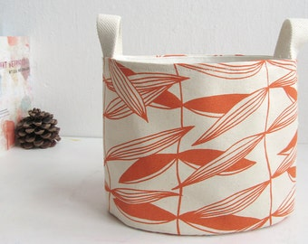 Oval Fabric Basket, Fabric Bin,  Fabric Organizer, Organic Cotton, Fabric Bucket, Orange