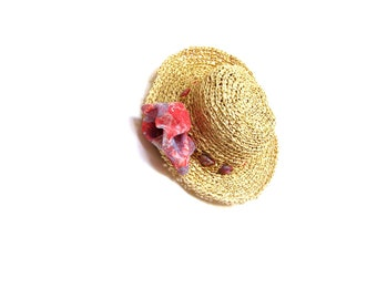 Straw sun hat - natural raffia crochet summer hat, beach accessory