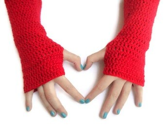 red Hand-Knitted Fingerless Gloves Winter Accessories Womens Gloves Gifts Accessories christmas stocking /// senoaccessory