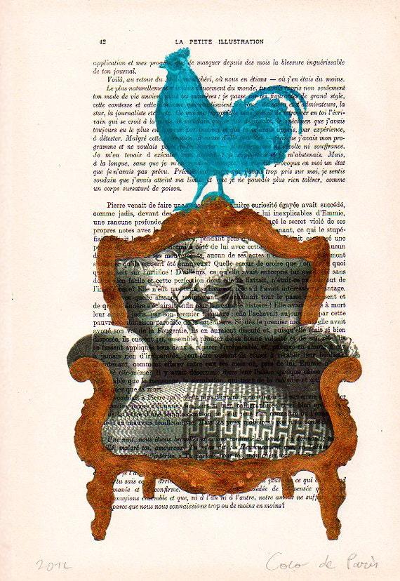 Blue rooster on golden sofa -Original Illustration-Art Print-Art Poster-Hand Painting Mixed Media-Art Dictionary Decors Victorian Art Deco
