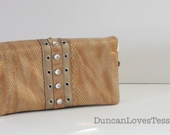 80s Handbag / Gold Snakeskin Bag / Rhinestone Clutch / Convertible Clutch  /  80s Rocker Glam / 80s Fashion Bag