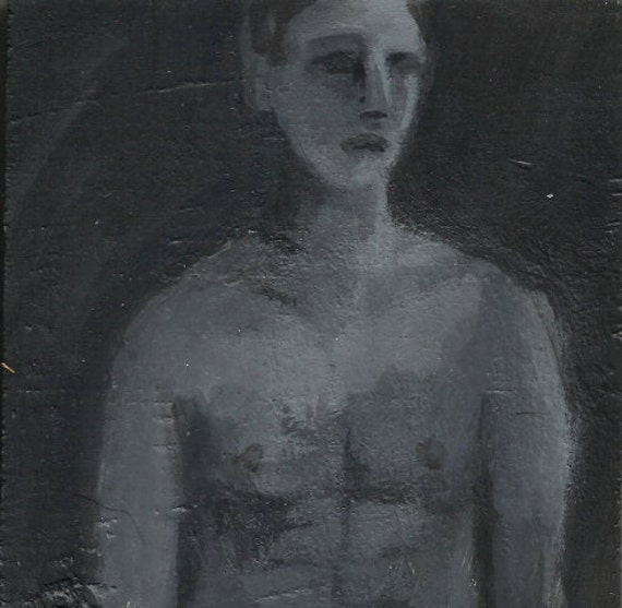 Shirtless Man Painting - Original Gay Artwork - Black and White Small Painting