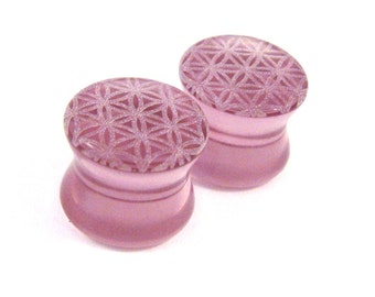 "Flower of Life Purple Glass Plugs PAIR 2g (6mm) 0g (8mm) 00g (9mm) (10mm) 7/16"" (11mm) 1/2"" (13mm) 9/16"" (14mm) 5/8"" (16mm) & up Ear Gauges"