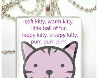 Soft Kitty, Sleepy Kitty Inspired by Big Bang Theory     Glass Tile Pendant
