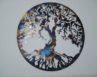 "40"" Tree Of Life, Metal Art - HEAT COLORED"