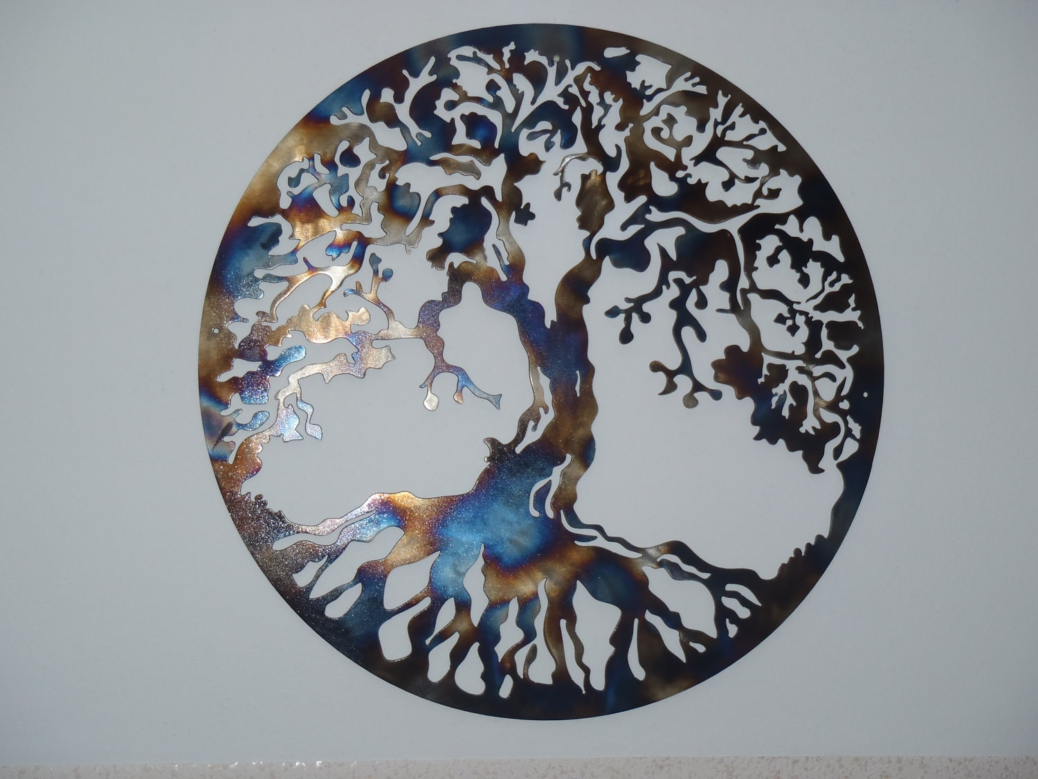 40 tree of life metal art heat colored. Black Bedroom Furniture Sets. Home Design Ideas