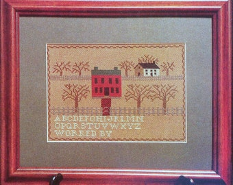 Homespun and Heartstrings SISTER'S HOUSE SAMPLER Antique Style Heirloom Museum Quality - Counted Cross Stitch Pattern Chart - fam