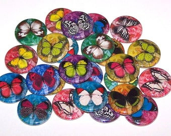 """Colorful Butterfly Pins (10 Pack), Butterflies Party Favors, 1"""" or 1.5"""" or 2.25"""" Pin Back Buttons or Magnets, Nature Gift, Butterfly Theme"""
