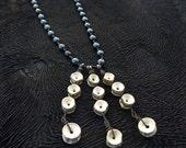 Real Bone Necklace Twelve Vertebrae in Unique Pattern -  Hematite and Black Glass Beads Gothic Sexy 6