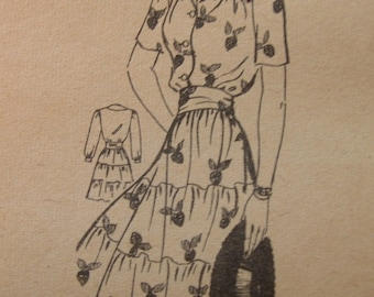 Fabulous Vintage 40s Misses' Los Angeles Times TIERED SKIRT DRESS Pattern Factory Folded