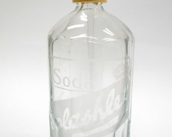 Large Etched Soda Water Splashlet Seltzer Bottle - 1950s