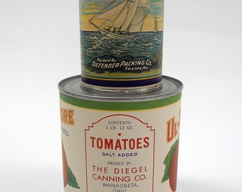 Vintage Lithographed Tomato Labels - 1940s (applied to cans)