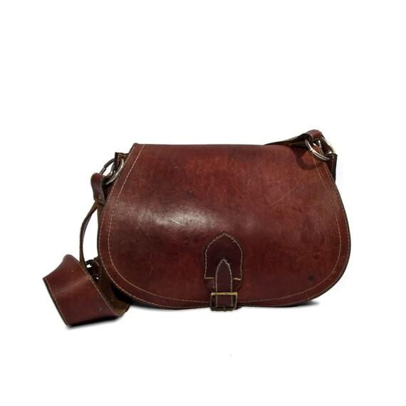 70's Vintage Burgundy Oxblood Leather Saddle Bag Boho Hippie Women's Purse