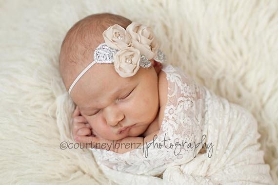 Antique Beige Chiffon Flower  & Pearl Headband - Newborn, Infant, Child, Teen and Adult - Photo Prop