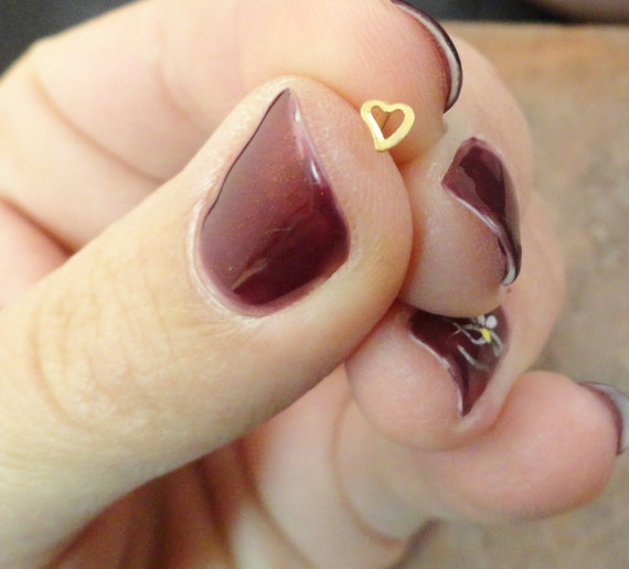 Gold Heart Nose Stud Nose Ring by MidnightsMojo on Etsy