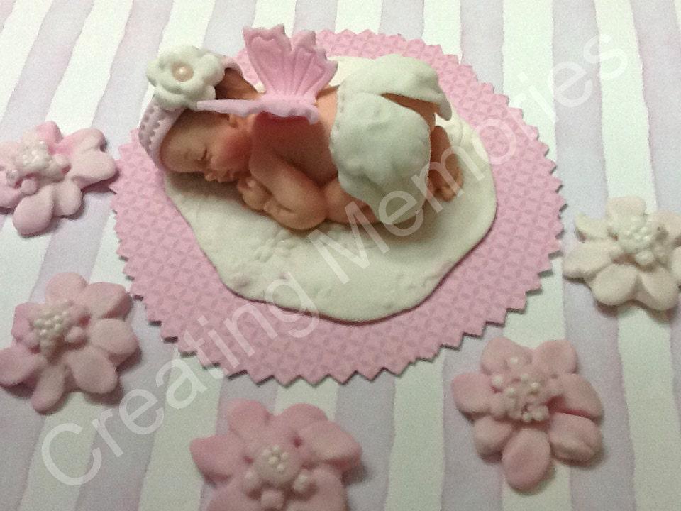 sweet angel baby girl cake topper made of vanilla fondant, Baby shower invitation