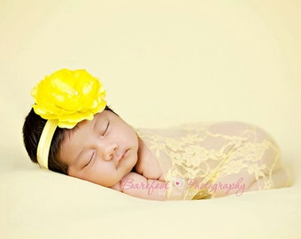 Baby Girl Yellow Flower Headband..Rhinestones..Yellow Flower Headband..Infant Yellow Flower Headband..Toddler Headband..Newborn Headband