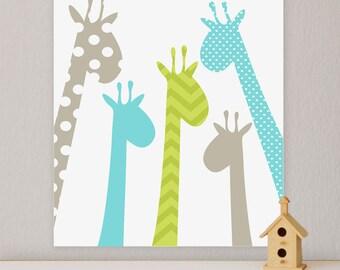 Giraffe, Children's Wall Art, Nursery Wall Art, Giraffe nursery, Children's Canvas-  stretched canvas