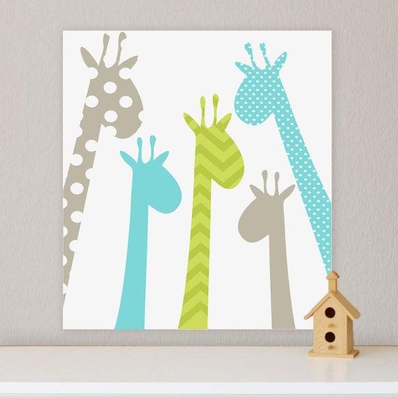 Childrens Wall Decor Canvas : Giraffe children s wall art nursery by fieldandflower