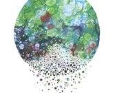 STILLNESS abstract art print in green navy blue red digital monotype