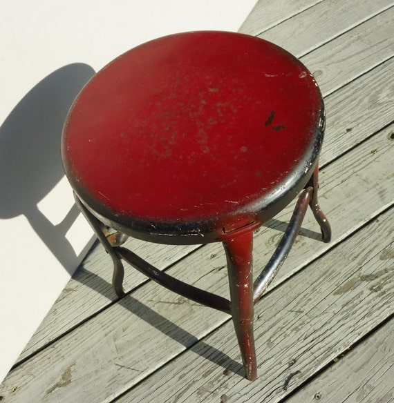 Cosco Chippy Red Metal Kitchen Cart Movable Painted Vintage: Chippy Paint Vintage Steel Foot Stool Old Red Black Paint