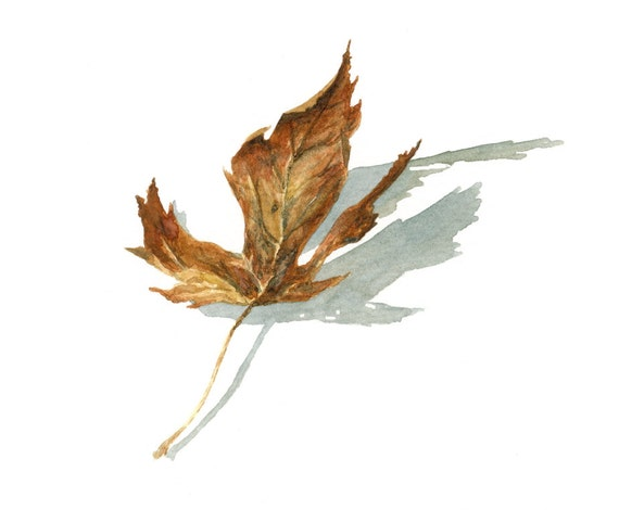 fall, autumn leaf watercolor giclee print - 8x10 - fall home decor - art print - illustration -- wall art