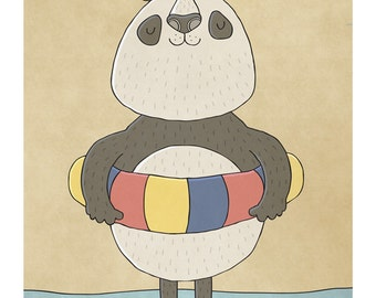 Paddling Panda - Illustration Art Print