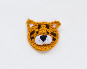 Instant Download - PDF Crochet Pattern - Tiger Applique - Text instructions and SYMBOL CHART instructions