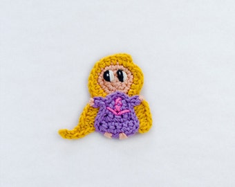Instant Download - PDF Crochet Pattern - Baby Rapunzel Applique - Text instructions and SYMBOL CHART instructions