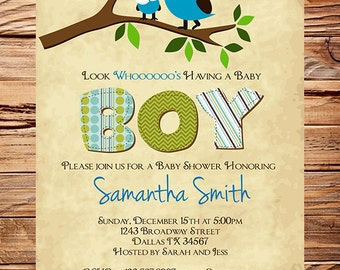 Owl Baby Shower Invitation, Baby Shower Invite, Boy, Whimsical, Blue, Pink, Baby shower Invite, 1448