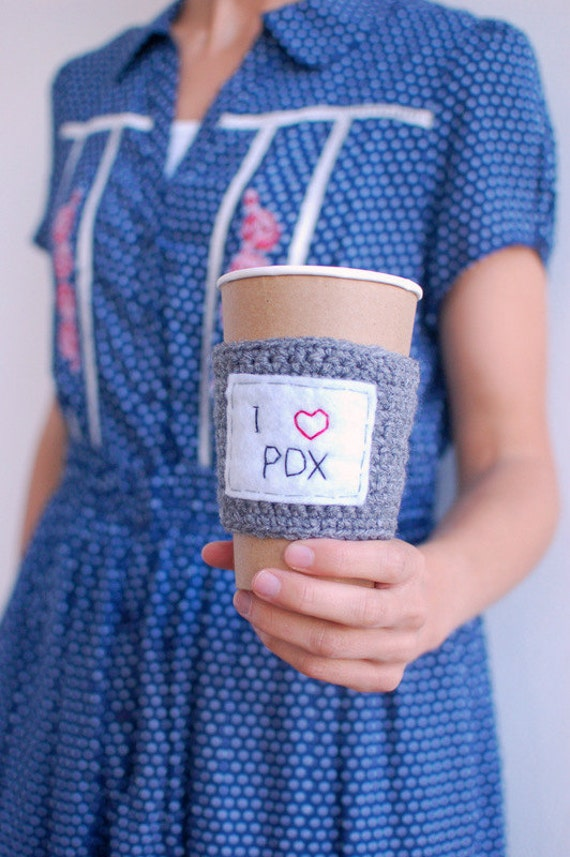 Coffee Cup Cozy, Crochet Coffee Sleeve, Reusable Coffee Cozy, I heart Portland by The Cozy Project