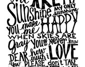 You Are My Sunshine - Black Vintage Text - 8x10 Illustrated Print by Mandipidy
