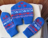 Knitted Mittens, Dual Valentine Gloves, for Lovers Holding Hands in One Glove, Initials and Hearts Decorations.