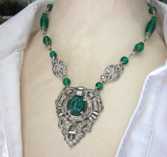 Art Deco Emerald Green Rhinestone Bead Assemblage Necklace - Glass, Silver, Statement, Holiday Jewelry OOAK by jryendesigns