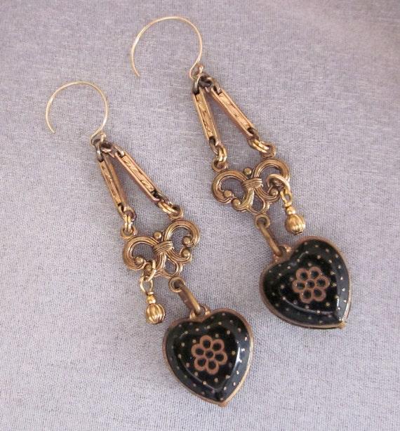 Repurposed Dangle Earrings, Black Heart Earrings, Charm Earrings, Gold Filled, Recycled, Reclaimed OOAK Assemblage Jewelry - JryenDesigns