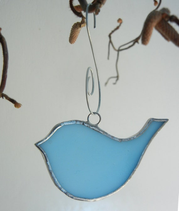 Christmas Ornaments: 3 Birds in Stained Glass - 3 cute BIRDS - Aqua Blue