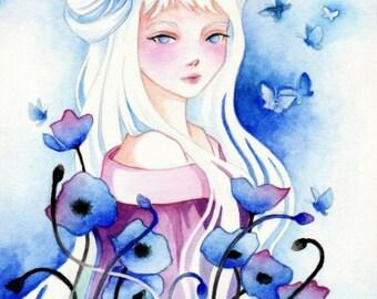 "Fantasy Art Print ""Blue Poppies"""
