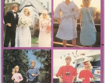 Butterick 3569 Fashion Doll Clothes Pattern Barbie Ken 11 1/2 Inch Doll Wedding Gown Tuxedo Jogging Suit Sweater Dress Sleepwear