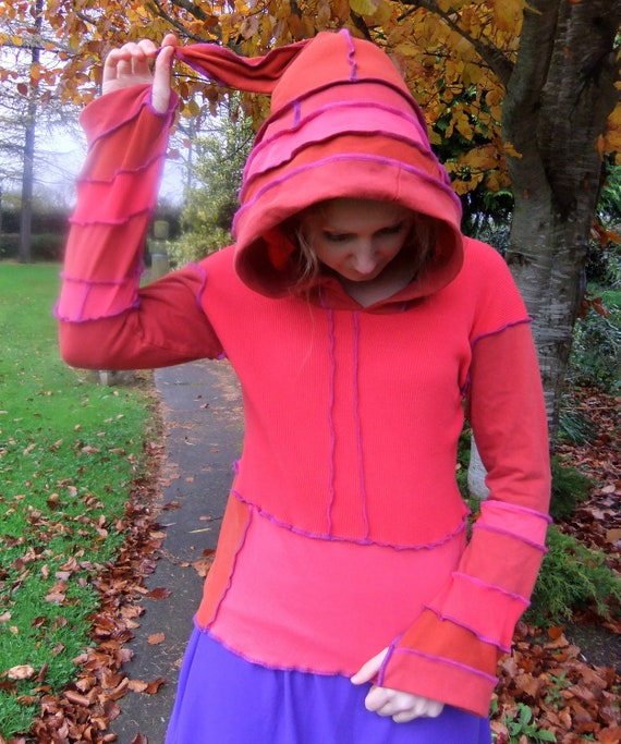Orange cotton pixie hoodie - One of a Kind - FOR ANNA