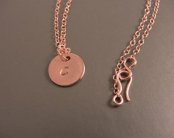 """Copper Stamped Initial Necklace Letter """"C"""""""