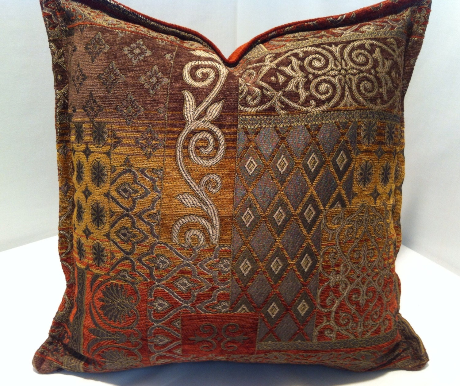Chenille Throw Pillow Covers : 16 inch Decorative Chenille Throw Pillow Cover in Burnt Orange