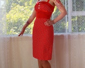 Red Polka Dot Pin up Wiggle Dress with Red Satin Trim - custom made to fit