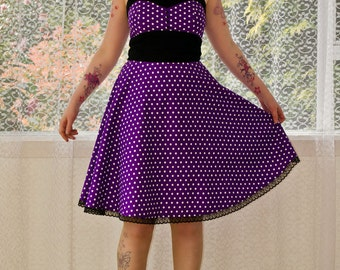 "1950's Style ""Michella"""" Purple Polka Dot Dress with Sweetheart Neckline and Black Trim - Custom Made To Fit"