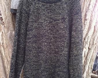 Vintage Gold and Black Metallic Sweater / Gold Vintage Hipster Sweater