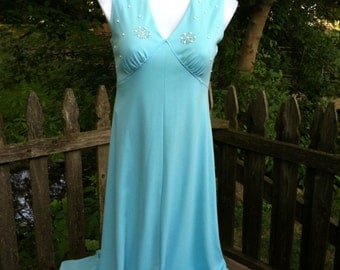 Gorgeous Light Blue Celanese Fortrel 70s Maxi Dress Size 18 As Is