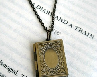 Book locket necklace- Antique bronze book locket- Graduation gift- Unique-  Picture locket- Square locket-Teacher gift- Photo locket