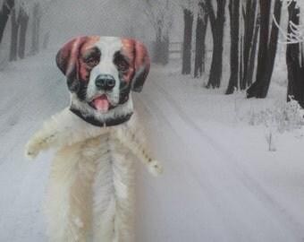 SAINT BERNARD DOG Vintage Style Chenille Ornaments ~ Set of 3 ~ Old World Charm & Nostalgia!
