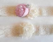 Beautiful Silk and Chiffon Rosette on Ivory Stretch Lace Bridal Garter Set, Pearl Rhinestone Cluster  Choice of Rose Color Dupioni Silk