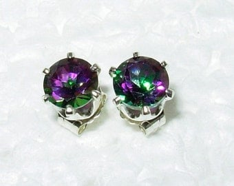 7mm Mystic Topaz and sterling silver earring studs