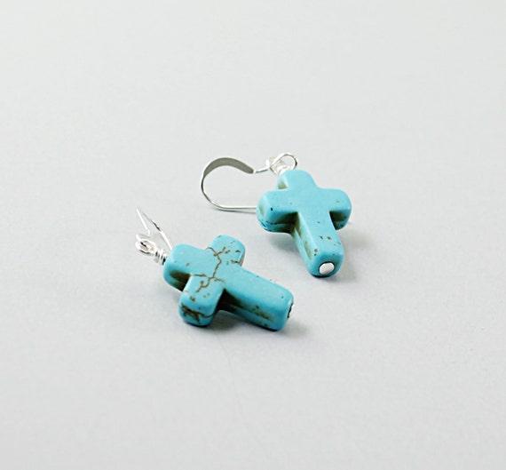 Sterling silver cross earrings: howlite turquoise cross earrings, Christian jewelry religious jewelry Catholic gift blue stone cross earring